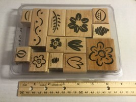 """Stampin Up 1999 """"Fanciful Flowers"""" Two-Step Stampin Set of 13 Wood Block Rubber  - $14.35"""