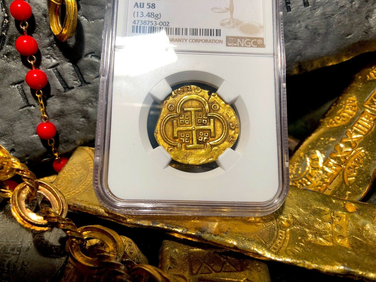 "Primary image for SPAIN 4 ESCUDOS 1630 ""DATED"" NGC 63 PIRATE GOLD COINS TREASURE DOUBLOON ESCUDO"