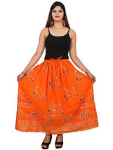 Trendy Printed Indian Women's Hippie Long Bottom Cotton Waisted Maxi Skirt - $18.69
