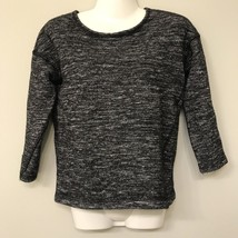 J Crew Jaspe SMALL Sweater Black Wool Blend Pullover Shirt Zip Back - $15.83