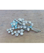 White Blue Crystals brooch in Shape of Flower Bouquet  Vintage Rhineston... - $28.93