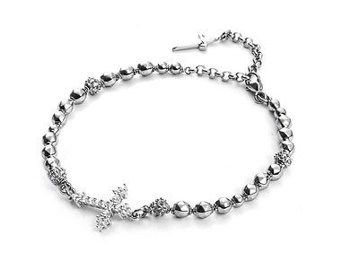 BRACELET CESARE PACIOTTI 925 SILVER AND STEEL CROSS CENTRAL JPBR1334B