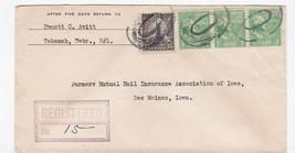 REGISTERED MAIL TEKAMAH, NEBRASKA TO DES MOINES IOWAS 1939 - $1.78