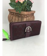 Coach Wallet Campbell Leather Buckle Accordion Zip F50151  Bordeaux $228... - $79.19