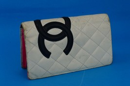 Auth Chanel CC Cambon Line Lambskin White Quilted Leather Bi-fold Long W... - $246.51