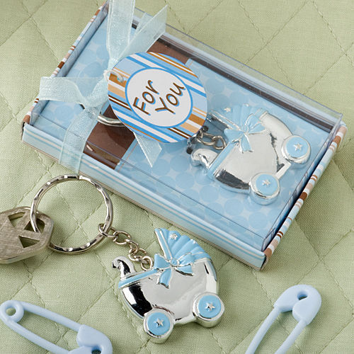 30 Blue Baby Carriage Key Chain Favors Keychain Baby Shower Favors Boy for sale  USA