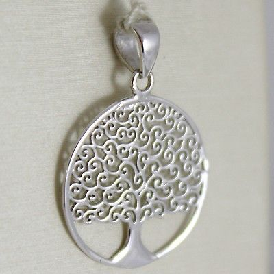WHITE GOLD PENDANT 750 18K, TREE OF LIFE 2.4 CM, FLAT, MADE IN ITALY