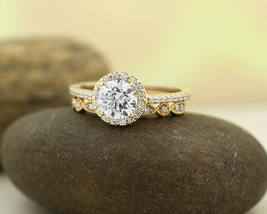 1.00 ctw D/VVS1 Diamond Halo Engagement Ring Set 14k Yellow Gold Over Silver - $111.19