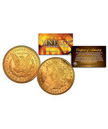 1921 Pure MORGAN SILVER DOLLAR full 24K GOLD Plated U.S. Coin with COA &... - $34.60