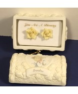 PRECIOUS MOMENTS EARRINGS IN JEWELRY BOX GRANDMA YELLOW ROSE YOU ARE BLE... - $19.75