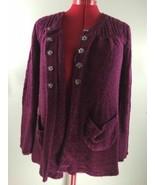 Linda Matthews Burgundy Knit Sweater Cardigan Soft Acrylic 1 Button 5 Sn... - $29.95