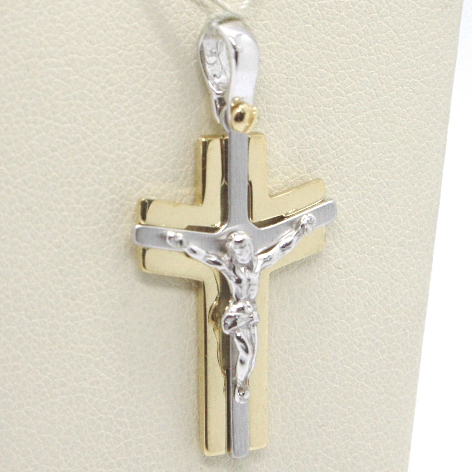 CROSS PENDANT YELLOW GOLD WHITE 750 18K, WITH CHRIST, LUCID AND SATIN
