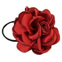Elegant Flowers Ponytail Holders Hair Rope Hair Accessories(Wine Red)