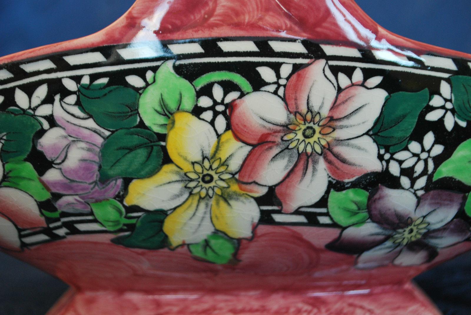 "Lovely Maling Rose Pink ""Clematis Rose"" Art Deco Pottery Basket c. 1935   #505"