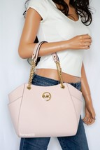 NWT MICHAEL KORS PINK SAFFIANO LEATHER SHOULDER LG CHAIN TOTE BAG PURSE ... - $138.58