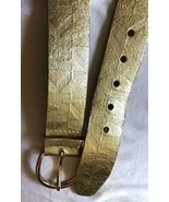 Michael Kors Signature Logo MK Gold Leather Belt size XL - $34.65