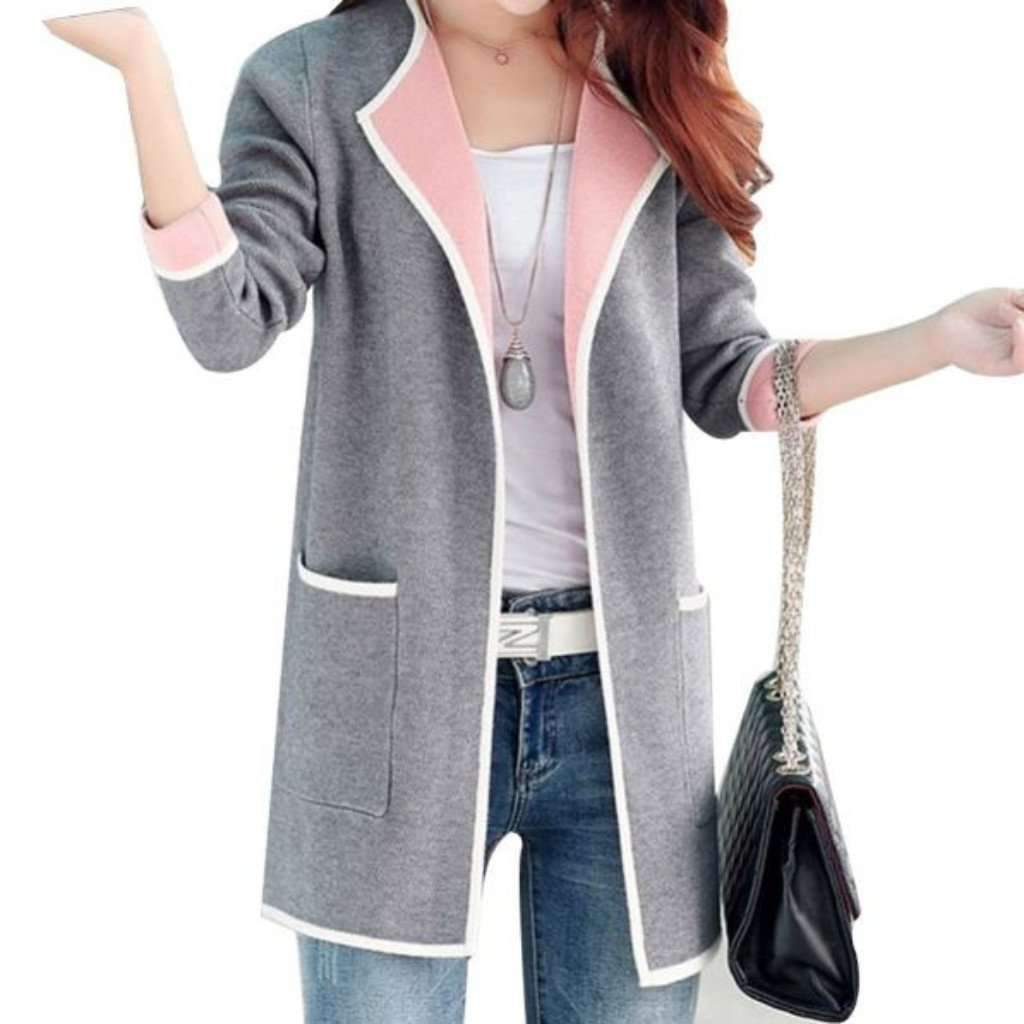 S for less cardigan medium gray long reversible open stitch women knitted cardigan 1402912538655