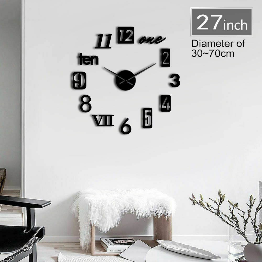 Primary image for Creative Modern Numbers Mix 3D DIY Mute Wall Clock Fashion Home Kit Decor Gift