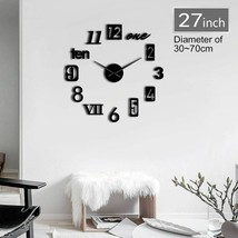 Creative Modern Numbers Mix 3D DIY Mute Wall Clock Fashion Home Kit Deco... - $36.40+