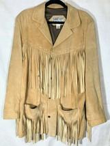 LEATHER CITY Western Suede Leather Fringe Coat Jacket Blazer Size Large ... - $79.99