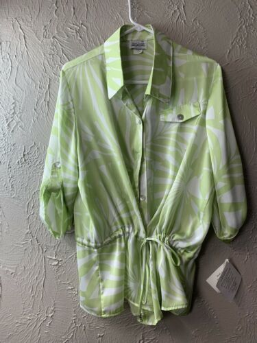 Primary image for Sea Sun Womens button down top cover up tie waist green Size XL Xlarge
