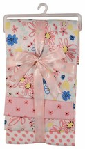 Buttons and Stitches Baby Girls 4 Pack Laddered Receiving Blankets BABY SHOWER!