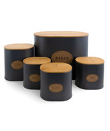 MegaChef Kitchen Food Storage and Organization 5 Piece Canister Set in G... - $73.73