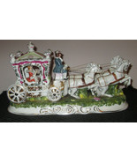 Capodimonte Italiano Porcelana Carruaje Princess 4 Caballo Firmada Pacelli - $354.49