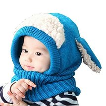 Creative Winter Baby Hat/Cap Durable Warm Cute Woolen Baby Hat with Scarf Blue