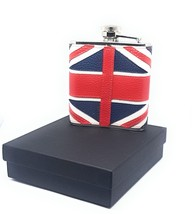 REAL LEATHER STEEL HIP FLASK UNION JACK FLAG CHRISTMAS PRESENT GIFT DAD ... - $45.80