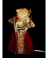 Wonderful Folk Art Clay Burgundy and Gold Angel Electric Lamp Studio Art... - $32.00