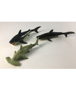 "Vintage Great White / Tiger / Hammerhead Shark Lot Play Visions 7"" Figur... - $19.79"