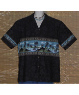 Royal Creations Hawaiian Shirt Black with blue mountain island scene Siz... - $31.95
