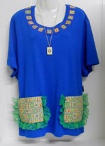 One of a Kind~Blue Sz 3X-4X S/S Shirt Embellished/Appliqued w/Mah Jongg ... - $25.00