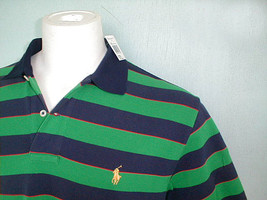 NEW! NWT! Polo Ralph Lauren Big Stripes Classic Fit Polo Shirt! L *Mesh ... - $46.99