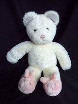 """Gund White Plush Bear with Pink Bunny Slippers 1985"""" Vintage Stuffed animal - $19.55"""