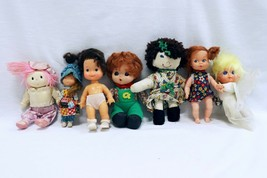 ORIGINAL Vintage Lot of 7 Small Soft Body Dolls / Brands Unknown  - $9.89
