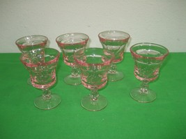 "Set of Six (6) Pink Fostoria Jamestown 4.25"" Water Tea Goblets Glasses - $51.38"