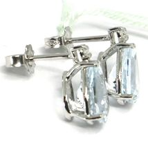18K WHITE GOLD AQUAMARINE EARRINGS 3.20 CARATS, DROP CUT, DIAMONDS, ITALY MADE image 3
