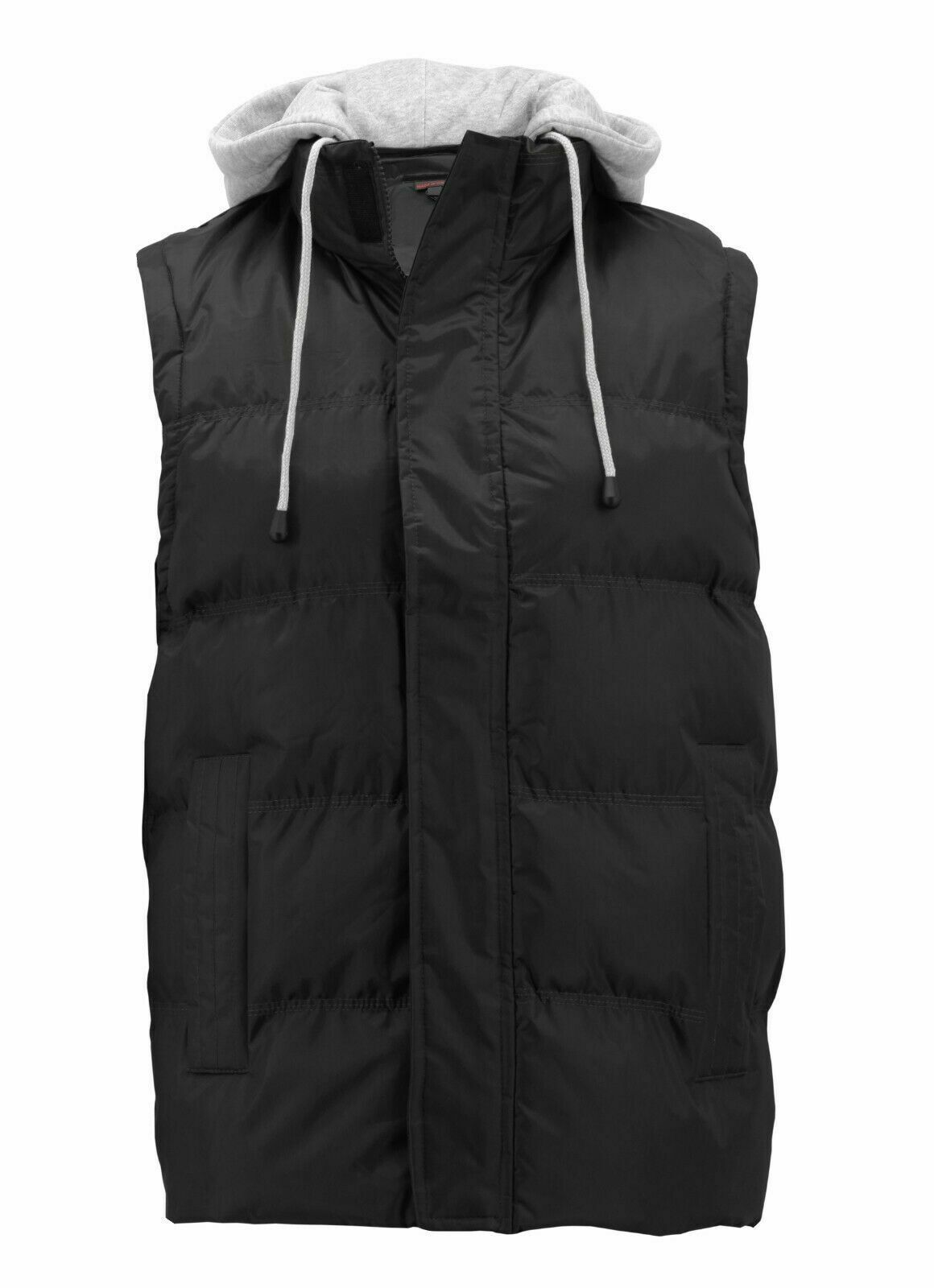 Men's Puffer Quilted Lightweight Zipper Vest With Removable Hood w/ Defects 2XL