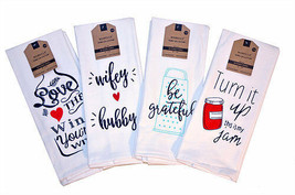 Kitchen Dish Towels Set of 2 Assorted Sayings Tea 16x28 Love Wine Wife H... - $9.99