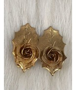 Gold Tone Vintage Mesh Roses Leaves Clip On Earrings Collectible Gift - $5.54