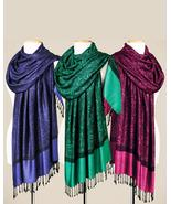 Smithsonian Paisley Jacquard Shawls in Fuchsia, Silver, Red, Blue, Green - $39.99