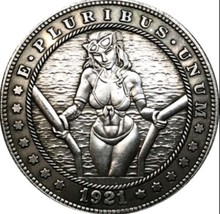 New Hobo Nickel 1921 Sexy Girl In Bikini Out Of Pool Morgan Dollar Caste... - $11.99