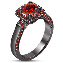 Solitaire With Accents Ring Round Cut Red Garnet Black Gold Finish 925 S... - £68.51 GBP