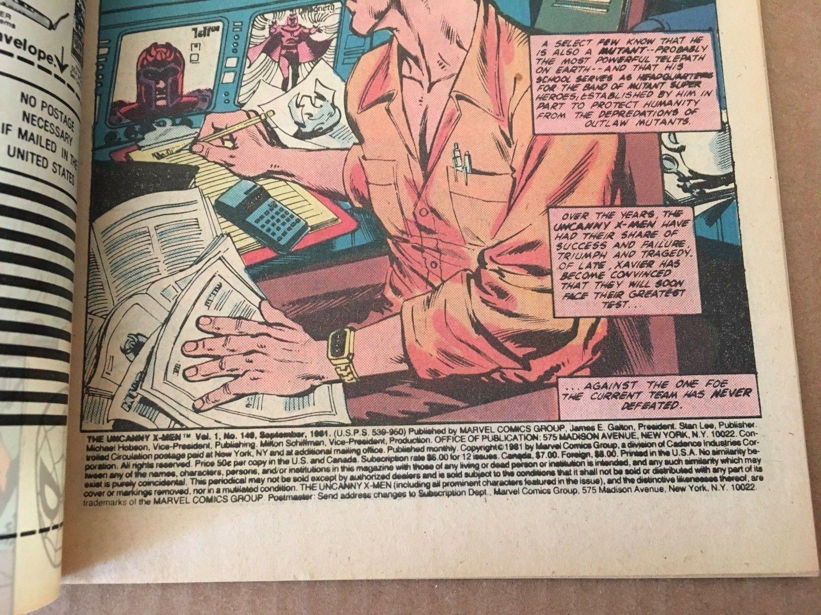 X-Men #149 Marvel Comic Book from 1981 FN+ Condition Uncanny X-Men