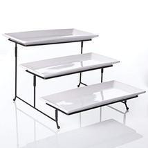 New Home Deal Tiered Serving Tray Set with Collapsible Metal Stand (3 Ti... - £34.89 GBP