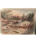 """Owen Wexler """"Winding Road"""" Watercolor Style Landscape Print 1990 Framed ... - $60.00"""