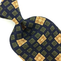 Structure Usa Tie Geometric Square Navy Blue Yellow Silk Necktie Men Ties I9-303 - $15.83