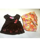 Baby Girl's Size 12M 9-12 Months Two Piece Brown Butterfly Top & Floral ... - $14.00